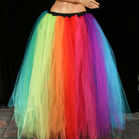 tutu skirt Rainbow Streamer floor length  by SistersOfTheMoon