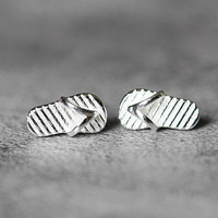 Tiny Flip Flop Earrings, Sterling Silver Flip Flop Stud Earrings, Tiny earrings, Cute studs earrings, silver Jewelry, gifts for her