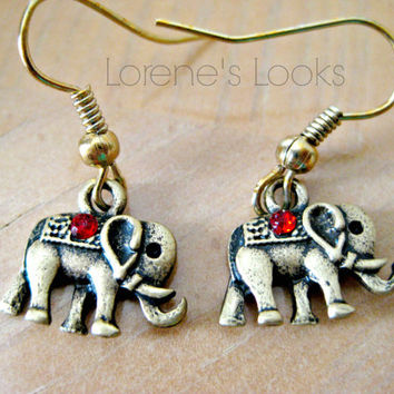 Small Bronze and Ruby Elephant Charm Earrings