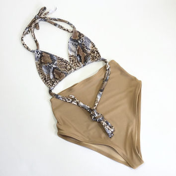 Nude Snake high waist swimsuit