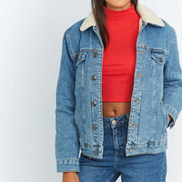 BDG Western Borg-Lined Blue Denim Jacket - Urban Outfitters