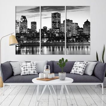 53429 - Montreal Wall Art Canvas Print - Canada Montreal City Skyline Large Canvas Print