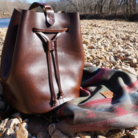 Brown Leather Drawstring Bag Sling Backpack