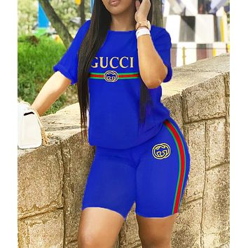 GUCCI New fashion letter stripe print top and shorts two piece suit Blue