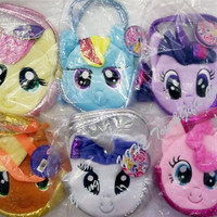 5pcs 2015 new 6 colors Children My Little Pony Plush Handbags/Baby Colorful Cute Horse Bags/Shopping Bags Kids Cartoon Bags/Wallets D079