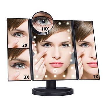 LED Touch Screen 22 Light Makeup Mirror Table Desktop Makeup 1X/2X/3X/10X Magnifying Mirrors Vanity 3 Folding Adjustable Mirror+