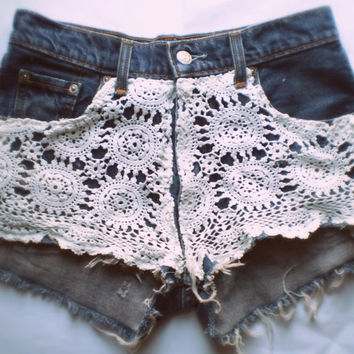 Vintage Crochet Levi 450's Cut Off Denim Shorts by festivaldenim