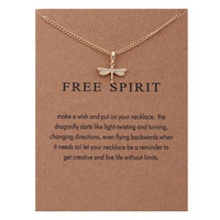 Free Spirit Gold Dragonfly Pendant Necklace