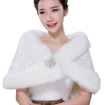In Stock Wedding Accessory Faux Fur Black White Custom Made Bridal Coat Wedding Bolero Stoles Jacket Shrug Wraps LF41