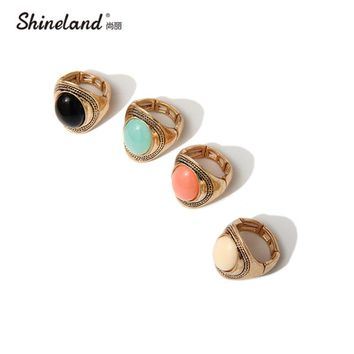 Shineland New Design  Vintage Gold-color Multi Color Oval Blue Stone Adjustable Luxrious Statement  Rings For Women  Jewelry