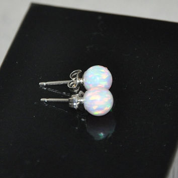 4mm Ball Stud Post earrings, Opal Earrings, Sterling Silver Earrings,  Australian Opal, 925 Sterling Silver