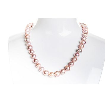Single Strand Pink/Purple Freshwater Pearl Necklace 9-10mm