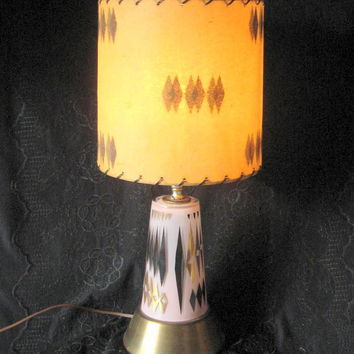 Mid Century Atomic Age Lamp Fiberglass Shade Original and Working