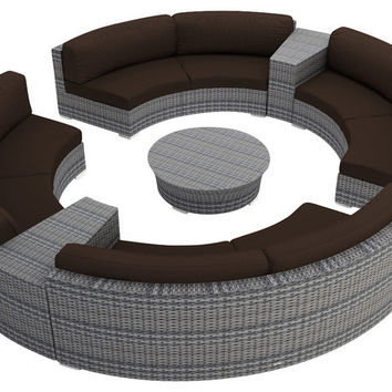 2016 Living Room 7 Piece Outdoor Rattan Patio Round Sectional Set
