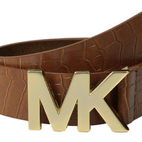 MICHAEL Michael Kors 38mm Croc Embossed Panel w/ MK Plaque Buckle Luggage - Zappos.com Free Shipping BOTH Ways