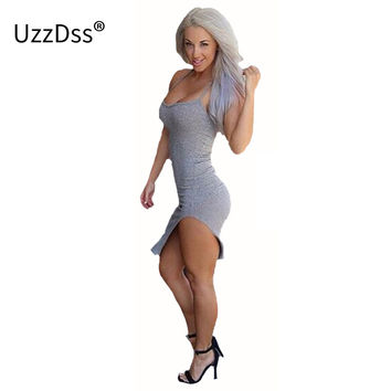 2017 new women summer dresses grey tape split bandage sexy dress party evening elegant plus size women clothing Halter dress