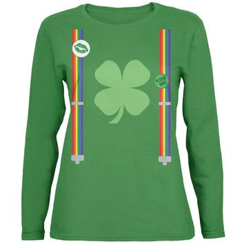 St. Patricks Day Rainbow Suspenders Green Ladies Long Sleeve T-Shirt