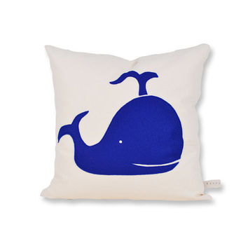 Blue Whale Cotton and Felt Pillow Cover by ekofabrik on Etsy