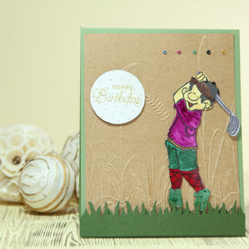 Paper Handmade Greeting Cards Masculine Golf Birthday Card Mens Birthday Sport