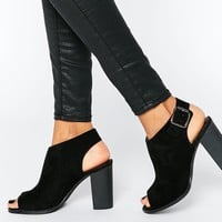 London Rebel Peep Toe Sling Heeled Sandals at asos.com