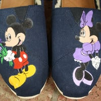 Mickey and Minnie Mouse Original Custom Acrylic Painting for Toms/Canvas Shoe