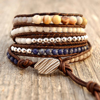 Five wrap multicolored beaded leather bracelet. Chan Luu inspired long wrap bracelet
