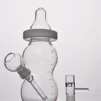 "6"" Baby Bottle Oil Rigs Water Pipe Glass With Pinholes Diffusor"
