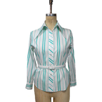 vintage 1960s striped blouse / Melray / white turquoise / belted / pointed collar / 60s blouse / women's vintage blouse / size medium
