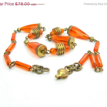 Art Deco Czech Necklace. Orange Czech Glass. Beaded Necklace. Antique Jewelry. Vintage 1920s Art Deco Jewelry. Machine Age Discs.
