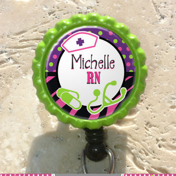 Personalized RN Bottlecap Badge Reel, Rn Lpn Np Nursing Id Badge Holder, Medical, Office, Doctor, Lanyard Badge Reel