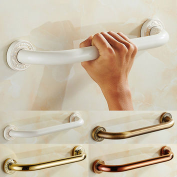 European Polished Gold Arm Rest Safety Handle Solid Brass Ivory White Toilet Seat Grab Bar Wall Mount Bathroom Accessories Dc38