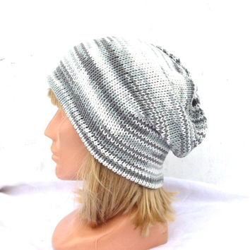 Knitted colorful beanie, knit white gray summer hat, knitting women cap, men cap, striped sun hat, knitting accessories, multicolor tam hat