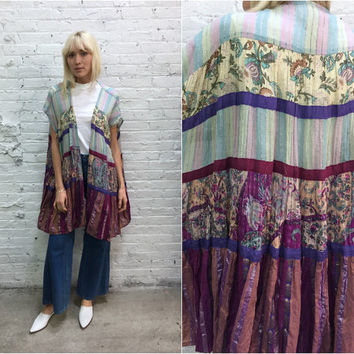 repurposed vintage kimono robe / hippy gauze shawl / purple pink pastel floral beach coverup / festival clothing