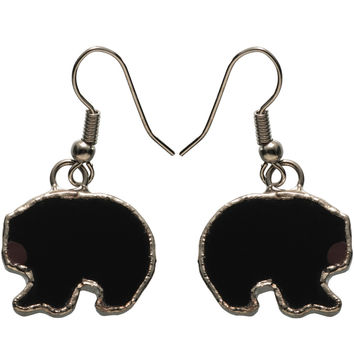 Stained Glass Black Bear Earrings