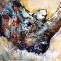 Rhino, Oil Painting, 11x14, wall decor, art print, giclee print, animal painting, nature art, rustic art, for him, african, naturalist, gift