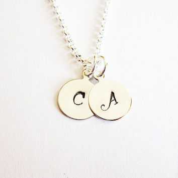 Two Initials Necklace, personalized necklace, two letters Silver necklace, engraved necklace, hand stamped necklace custom initials mom of 2