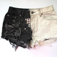MADE TO ORDER/ High Waist/ Studded & Destroyed/ Black and White denim