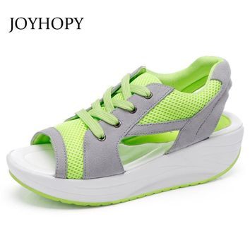 JOYHOPY Fashion Summer Women's Sandals Casual Mesh Breathable Shoes Ladies Wedges Sand