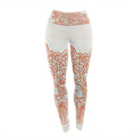 "Sam Posnick ""Lettuce Coral"" Orange Beige Yoga Leggings"