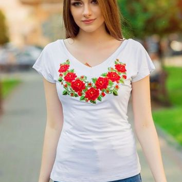 "Women's short sleeve embroidered shirt ""Polish Rose"" white"