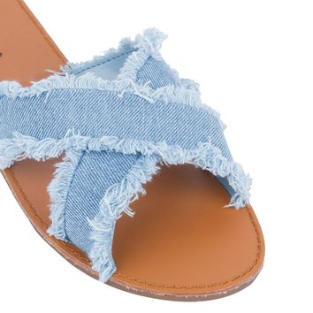DOUBLE TAKE CROSS STRAP DENIM SANDAL - What's New