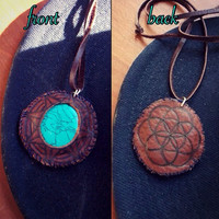 Flower of Life Leather Necklace with Turquoise Stone // Heady Sacred Geometry Aztec Tribal Jewelry