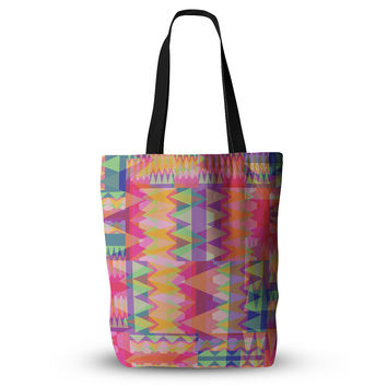 "Miranda Mol ""Triangle Fun"" Pink Multicolor  Everything Tote Bag"