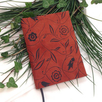 Suede Leather Bound Hardback Journal in Rust with Black Floral Pattern, Handbound Notebook
