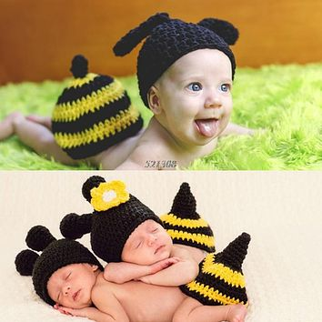 Knit Photo Props Baby Knitted Soft Mohair Hat Cap And Trousers Costume Newborn