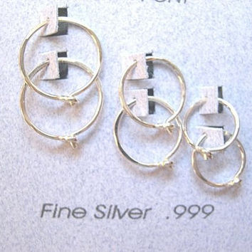 Graduated Silver Hoop Set. GIFT SET. 8mm 10mm 12mm. 99.9 Percent Pure Silver Small Hoop Earrings. Hypoallergenic Earrings for Sensitive Ears