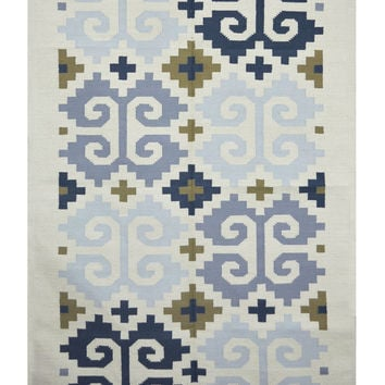Classic Look  Cotton Flat Weave White Contemporary Rugs  - Reversible