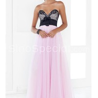 Pink and Black Sweetheart Flower Floor Length Chiffon Homecoming Dress