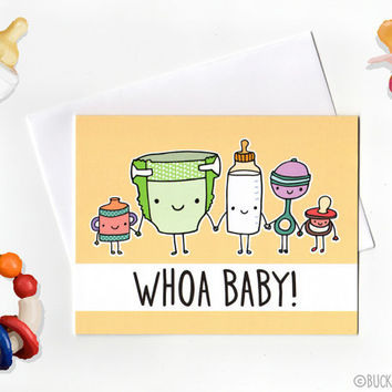 Whoa Baby Shower Congratulations Card with Envelope blank inside new baby pregnancy announcement