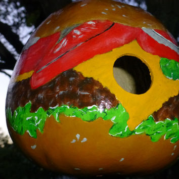 Birdhouse Cheeseburger Hand Painted Gourd Art  Designs by Sugarbear Original Design Looks Good Enough to Eat